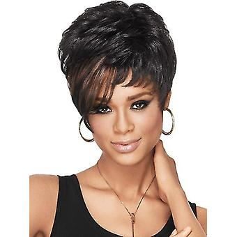 European And American Hairstyle Female Fluffy Short Curly Hair Brown Highlight Wig