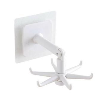 (White) Utensil Under Shelf Rotate Hook Holder Kitchen Cabinet Storages Rack Organizer