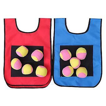 Dodgeball game set - 2pcs kids dodgeball tag sticky vests with 10 sport dodge balls for indoor outdoor playground games