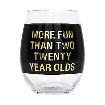Say What Two Twenty Year Olds Wine Glass (Black)