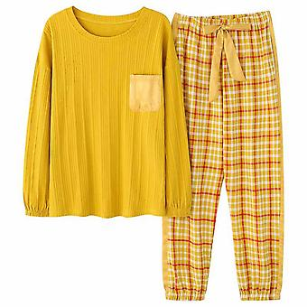 Mile Family Matching Pajamas Sets Plaid Round Neck Long Sleeve Pullover+trousers For Kids Adults