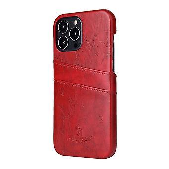 Til iPhone 13 Pro Case Deluxe Læder Tegnebog Back Shell Slim Cover Red