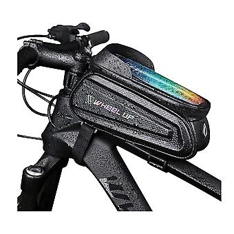 حقيبة إطار الدراجة، حقيبة الدراجة للماء، ركوب الدراجات الأمامية أعلى أنبوب شاشة تعمل باللمس الشمس قناع حقيبة التخزين لفون 11 زائد / X / XS ماكس / XR / سامسونج S9/S10 بالإضافة إلى ما يصل إلى 7 بوصة (أسود)
