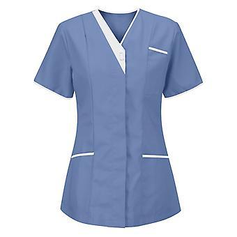 Dámske scrub top, chirurgia Scrub Shirt Uniformy s krátkym rukávom