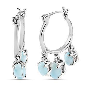 GP Larimar Creolen In Sterling Silber blau Saphir 3,38 ct