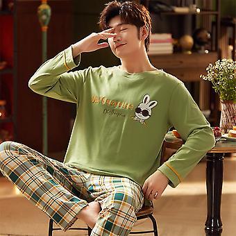 Autumn Winter Male Long Sleeve Pajama Sets Casual Striped Lounge
