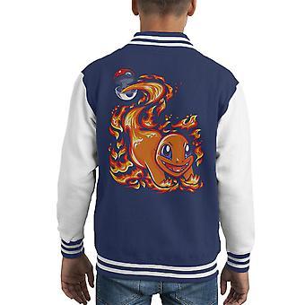Glumanda Pokeball Pokemon Kid Varsity Jacket