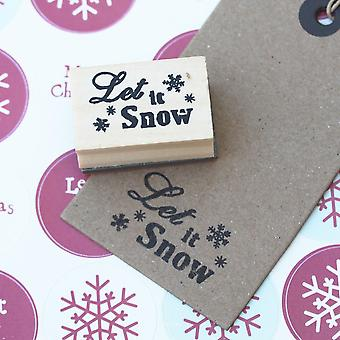 'Let It Snow' Small Snowflake Design Wooden Rubber Christmas Stamp