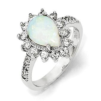 925 Sterling Argent Rhodium plaqué Cubic Zirconia Synthétique Simulated Opal Pear Shaped Ring Jewelry Gifts for Women - Ri