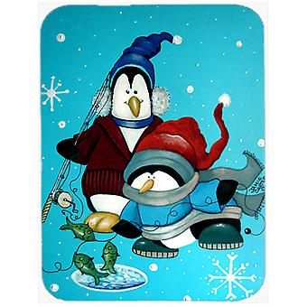 Somethin's Fishy Christmas Penguin  Glass Cutting Board Large