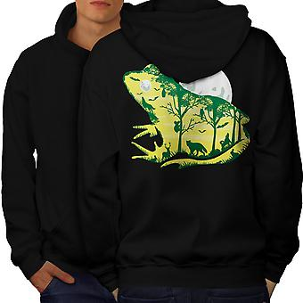 Frog Moon Nature Fantasy Men BlackHoodie Back | Wellcoda