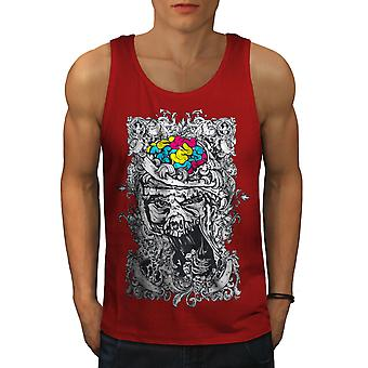 Skull Face Brain Men RedTank Top | Wellcoda