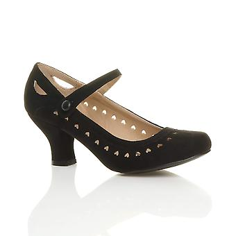 Ajvani damskie połowy kitten pięty mary jane pasek działa klasyczny wyciąć serce pompuje buty sądu