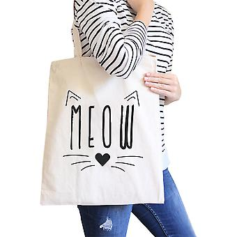 Meow Natural Canvas Tote Cute Teacher Tot Gift For Cat Moms