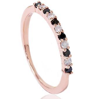 1 / 4ct behandlas svart & vit diamant Ring 14K roséguld