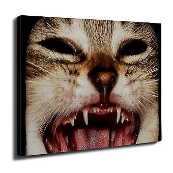 Söpö hauska kissa Wall Art Canvas 40 cm x 30 cm | Wellcoda