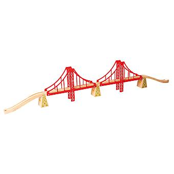 Bigjigs Rail Wooden Double Suspension Bridge Train Track Railway Expansion Set