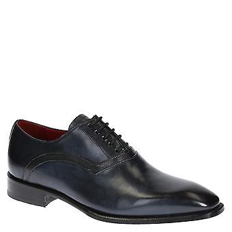 Men's blue calf leather oxfords lace-ups shoes