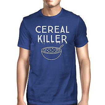Cereal Killer T-Shirt Mens Blue Funny Graphic Halloween Tee Shirt