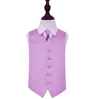 Lilac Plain Satin Wedding Vest & Tie Set voor jongens