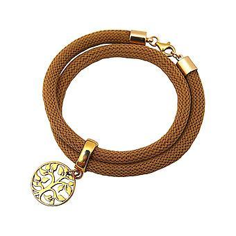 Gemshine Armband Wickelarmband 925 Silber Vergoldet Lebensbaum Braun