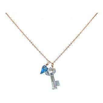 Blue - 45 cm gold plated ladies - necklace - pendants - rose - key - heart-