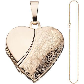 Pingente de coração medalhão para abrir prata 925 rosa ouro corrente chapeado ouro 45cm