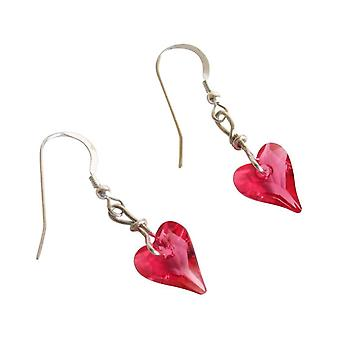Ladies heart earrings 925 Silver heart * Indian wild pink * Rosa MADE WITH SWAROVSKI ELEMENTS® 2 cm