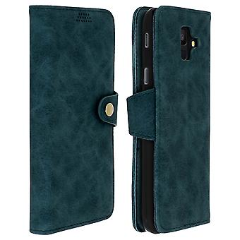Retro flip cartera, pie funda para Samsung Galaxy A6 - verde-azul