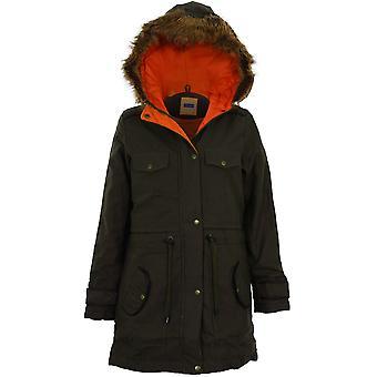 Дамы оливковое искусственного меха с капюшоном Куртка Куртка женщин ПВХ контраст стеганые пальто