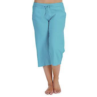 Las señoras Tom Franks color sólido lino 3/4 longitud pantalones Lounge llevar pantalones