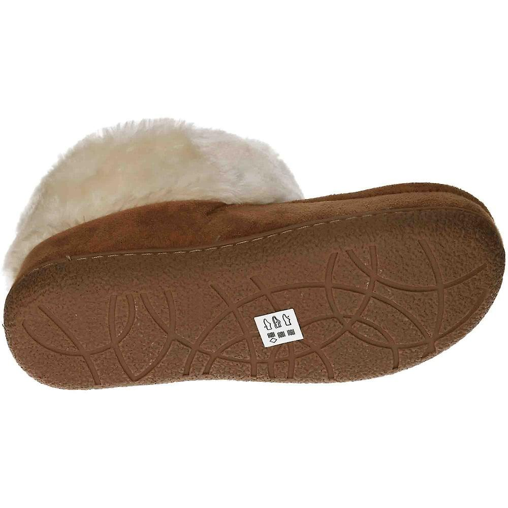 Cushion-Walk Tan Moccasin Ankle Bootee Slipper House Shoe