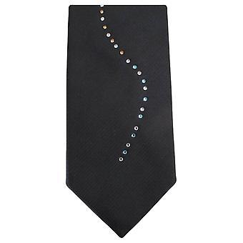 Knightsbridge Neckwear Diamante bølge mønster Tie - svart/Multi-colour