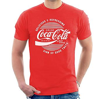 Official Coca Cola Circle Logo White Text Men's T-Shirt