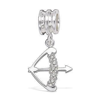 Sagittarus Zodiac Sign - 925 Sterling Silver Jewelled Beads - W29534x