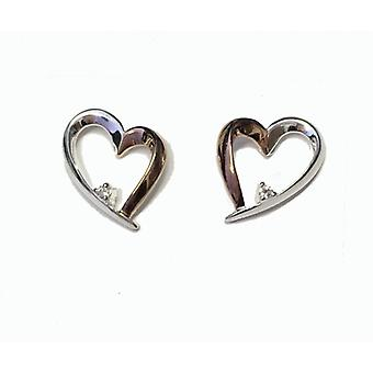 Cavendish French Silver and Rose Gold Happy Heart Earrings