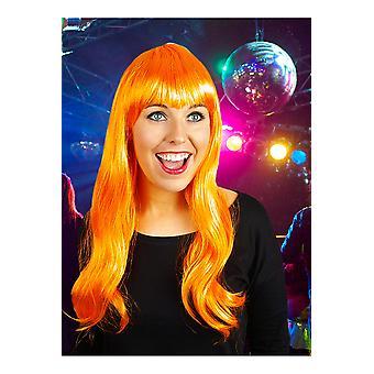 Perruques perruque longue avec frange orange