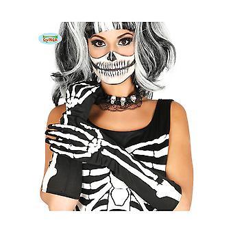 Handschuhe mit Skelett drucken 40 cm