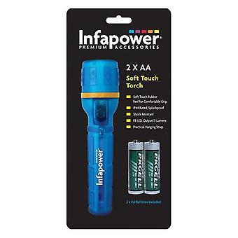 Infapower Splashproof Soft Rubber Extra Bright F8 Shock Resistant LED Torch Blue