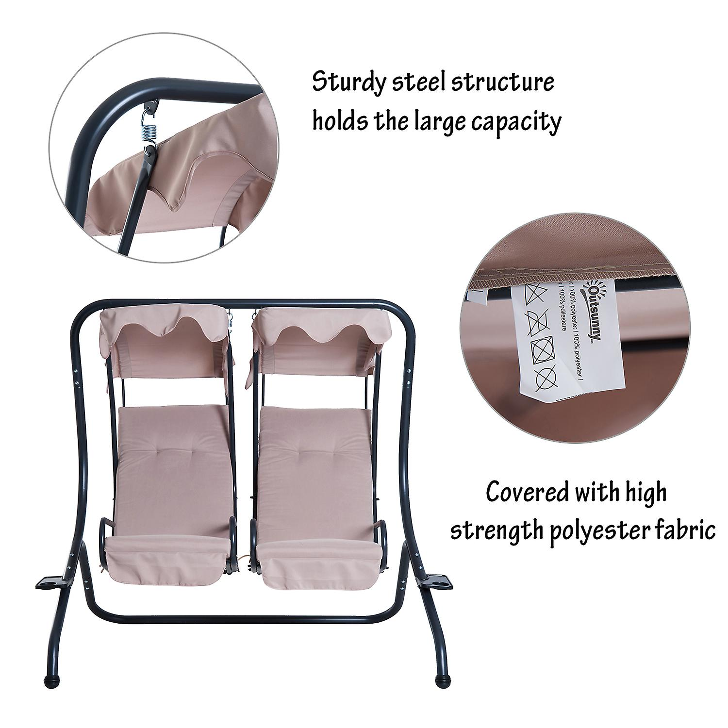 Garden Swing Chair Cushioned 3 Seaters Patio Hammock Bed Canopy w// Cup Holders