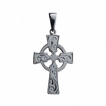 9ct oro bianco 35x24mm mano inciso croce celtica con cauzione