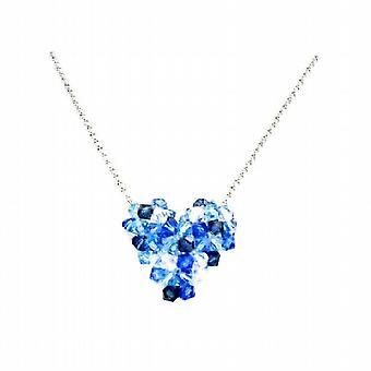 Edullinen Swarovski Sapphire AB Crystal pöhöttynyt sydän kaulakoru
