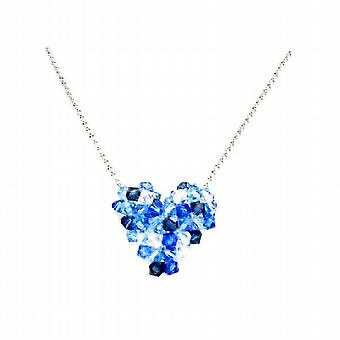 Billig Swarovski Sapphire AB krystal oppustede hjerte halskæde