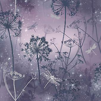 Damselfly Purple Trees Butterflies Floral Flower Glitter Sparkly Luxury Arthouse