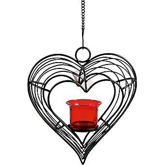 Laterne hängen Herz schmieden mit roten Glas Tasse