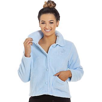 Camille Womens blauw zachte warme Fleece Bed jas