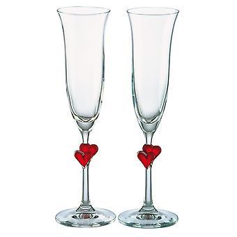 Stolzle L'Amour czerwone serce lampki do szampana 2 szt.
