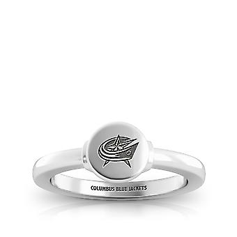 Columbus Blue Jackets Engraved Sterling Silver Signet Ring