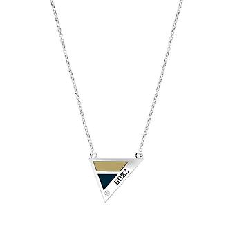 Georgia Institute Of Technology Engraved Sterling Silver Diamond Geometric Necklace In Tan & Blue