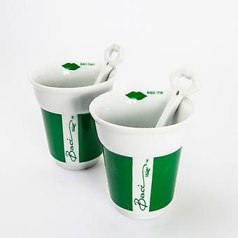 Baci Milano Set of 2 Cappuccino Cups & Spoons, Green